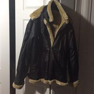 Genuine leather aviator jacket.